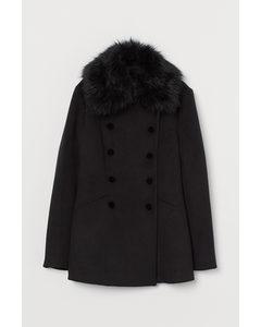 Mantel mit Faux-fur-Kragen Schwarz