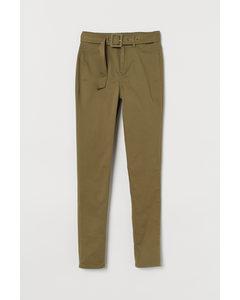 Skinny High Jeans Khakigrön