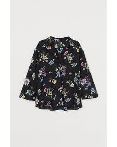 Overhemdblouse Met V-hals Zwart/bloemen