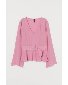 Bluse mit Gürtel Rosa