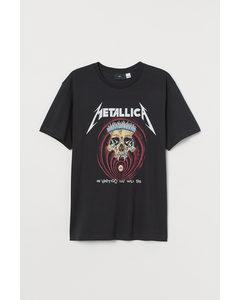 T-shirt - Regular Fit Zwart/metallica