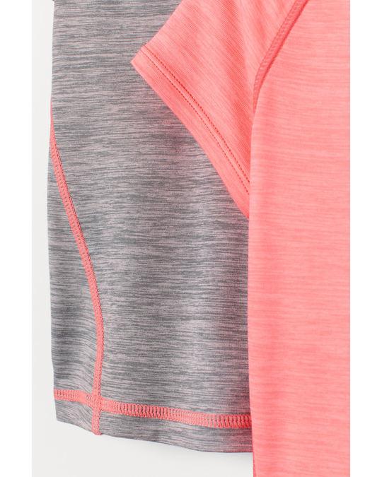 H&M 2er-Pack Sportshirts Graumeliert/Neonrosa