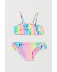 Mönstrad Bikini Neonrosa/regnbåge