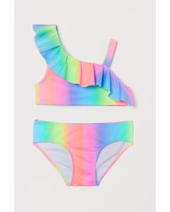 Bikini mit Volant Rosa/Regenbogenfarben