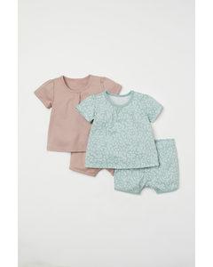 2-pack Pyjamas Mintgrön/mönstrad