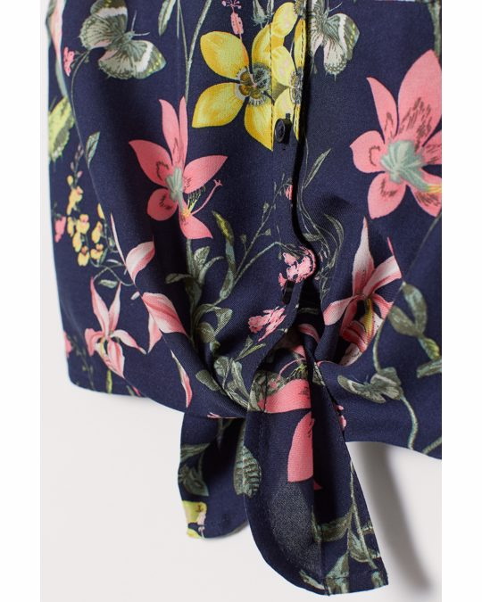 H&M Strikblouse Donkerblauw/bloemen