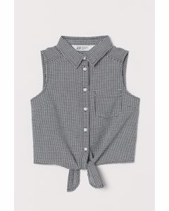 Tie-hem Blouse Black/white Checked