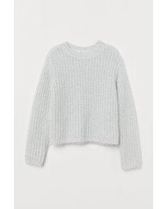 Glitzernder Pullover Weiß/Silberfarben