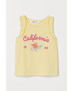 Frill-trimmed Jersey Top Light Yellow/california