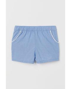 Shorts I Bomull Ljusblå