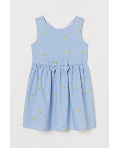 Klänning I Bomull Ljusblå/citroner