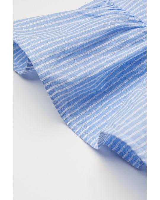 H&M Gesmoktes Baumwollkleid Hellblau/Weiß gestreift