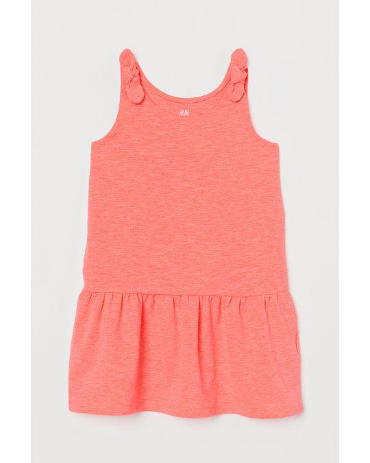 H&M Jerseykleid mit Schleifen Neonorange