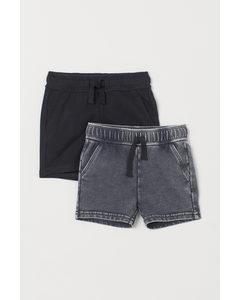 2-pack Sweatshirtshorts Mörkgrå/svart