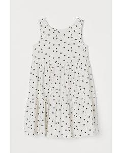 Kleid aus Baumwolljersey Weiß/Herzen