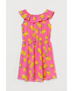 Kleid mit Volant Dunkelrosa/Zitronen