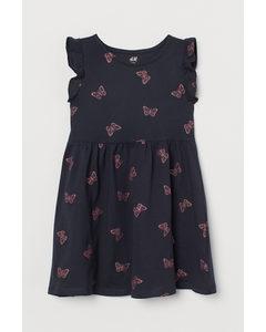Jerseykleid Marineblau/Schmetterlinge