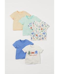 Set Van 5 T-shirts Lichtblauw/vissen