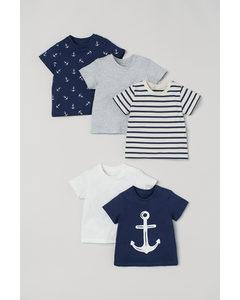 Set Van 5 T-shirts Marineblauw/anker
