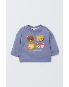 Sweatshirt Med Motiv Blå/djur
