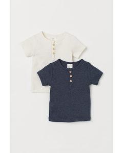2-pack T-shirt I Bomull Naturvit/mörkblå