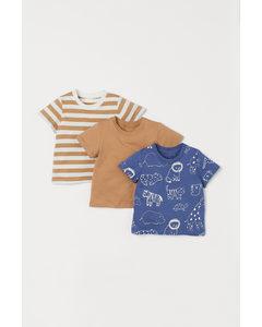 3er-Pack Baumwoll-T-Shirts Blau/Tiere