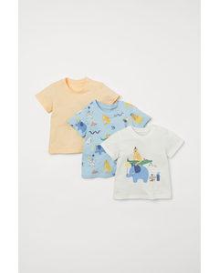 3er-Pack Baumwoll-T-Shirts Hellblau/Tiere