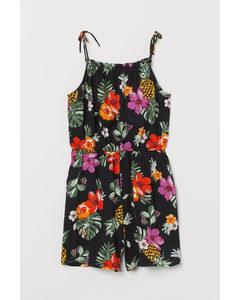 Korte Jumpsuit Zwart/tropische Bloemen