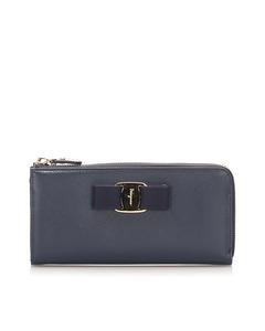 Ferragamo Vara Leather Long Wallet Blue