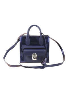 Balenciaga Mini Padlock All Afternoon Patent Leather Satchel Purple