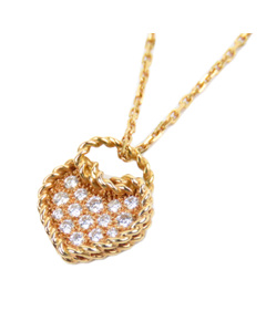 Cartier 18k Diamond Coeur Torsade Heart Pendant Necklace Gold