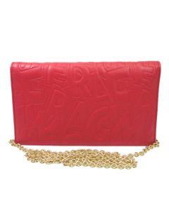 Ferragamo Embossed Leather Wallet On Chain Red