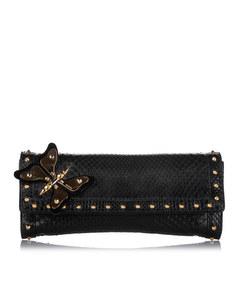 Gucci Butterfly Broadway Snake Skin Clutch Bag Black
