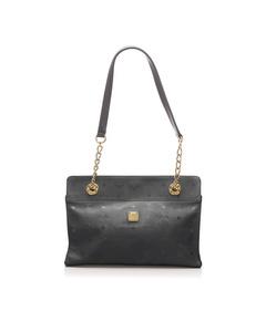 Mcm Visetos Nylon Shoulder Bag Black