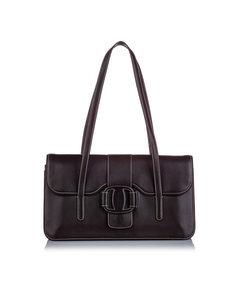 Ferragamo Vara Leather Shoulder Bag Black