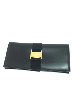 Ferragamo Vara Bifold Leather Wallet Black