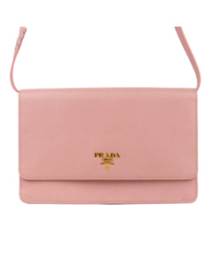 Prada Saffiano Leather Wallet On Strap Pink