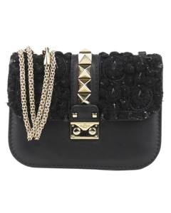 Valentino Small Rockstud Glam Lock Crossbody Bag Black