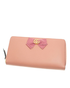 Gucci Marmont Bow Leather Long Wallet Pink