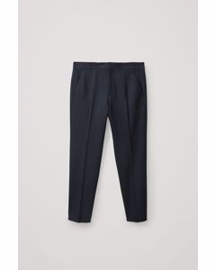 Straight Wool-cashmere Trousers Navy
