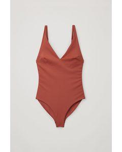 V-neck Swimsuit Terracotta