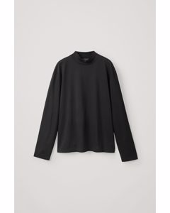 Cotton Jersey Mock-neck Top Black