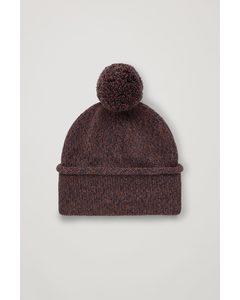Merino Hat With Pom Pom Brown / Navy