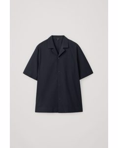 Camp-collar Cotton Shirt Washed Navy