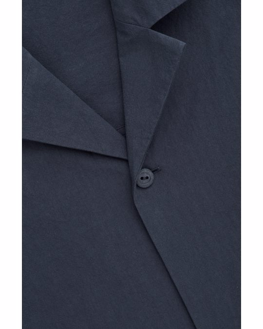 COS Camp-collar Cotton Shirt Washed Navy