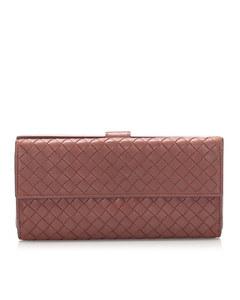 Bottega Veneta Intrecciato Leather Long Wallet Red
