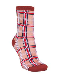 Dagmar Multi Check Sock Burgundy