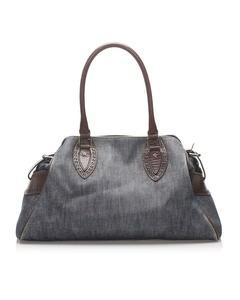 Fendi Denim Etniko Shoulder Bag Blue