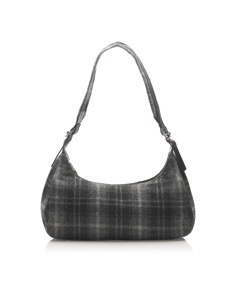 Ferragamo Plaid Wool Shoulder Bag Black