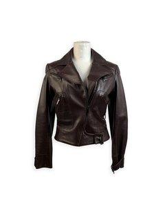 Christian Dior Brown Leather Women Biker Jacket Size 36